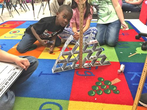 2nd graders build house of cards